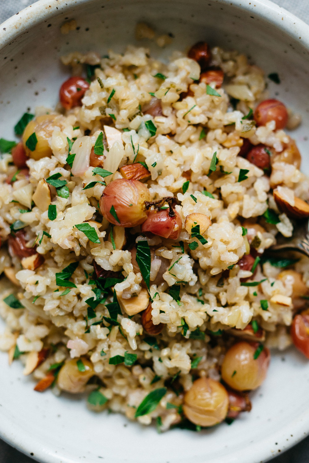 Sprouted Brown Rice Pilaf w/ Roasted Grapes & Fennel | dolly and oatmeal