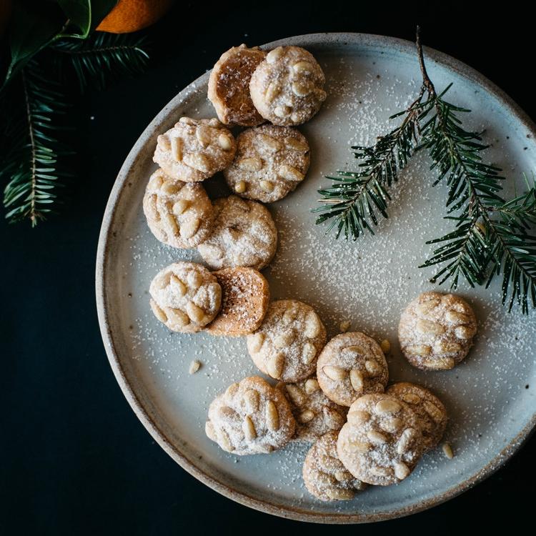 satsuma & rosemary pignoli nut cookies