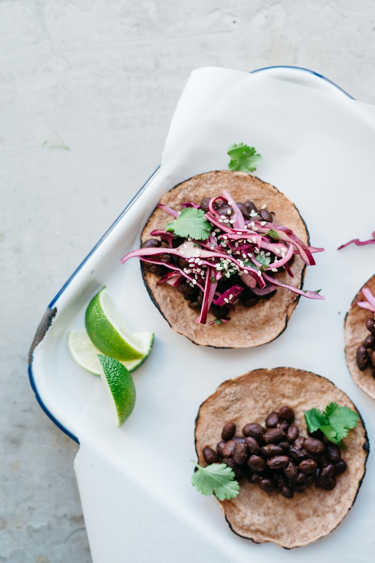 mole black bean tacos w/ cabbage cilantro slaw