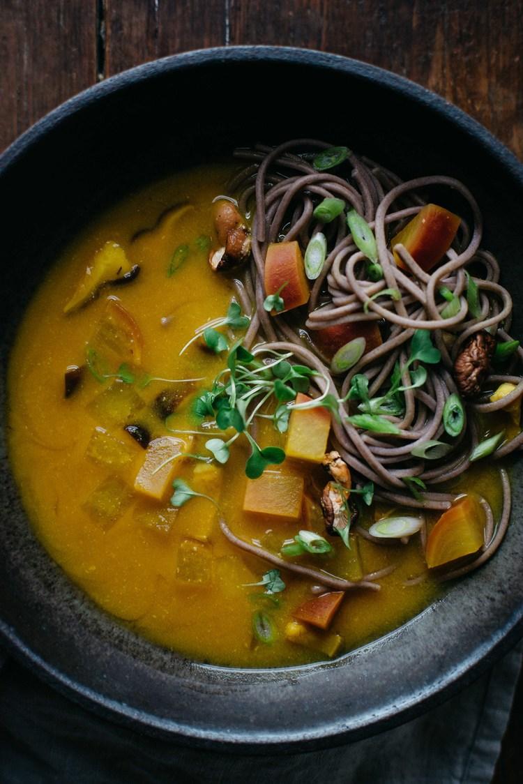 turmeric-miso soup w/ shiitakes, turnips & soba