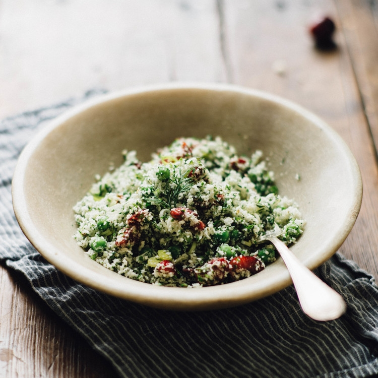 raw cauliflower couscous w/ cherries