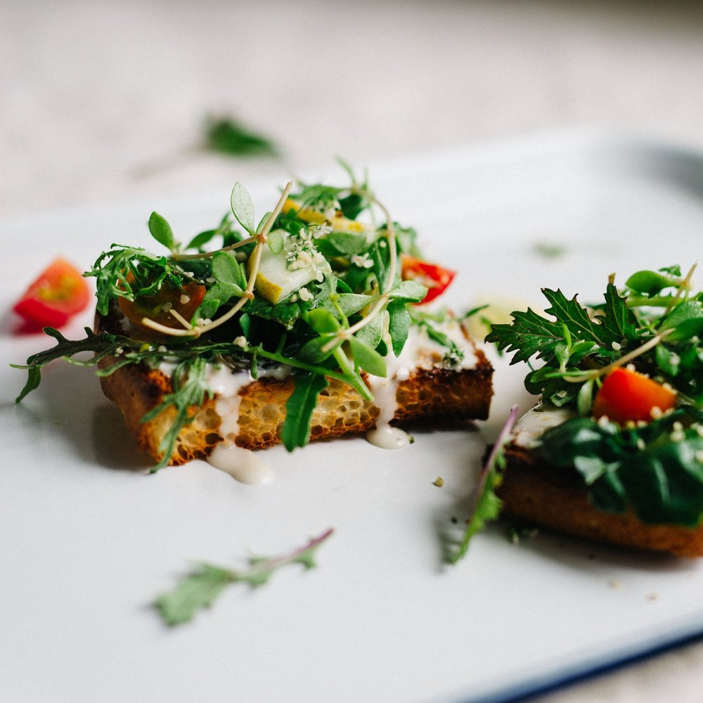 cilantro & hemp salad on toast