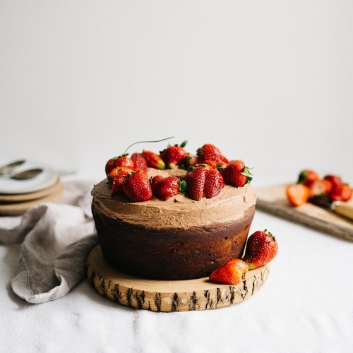 strawberry-rhubarb & olive oil chocolate cake