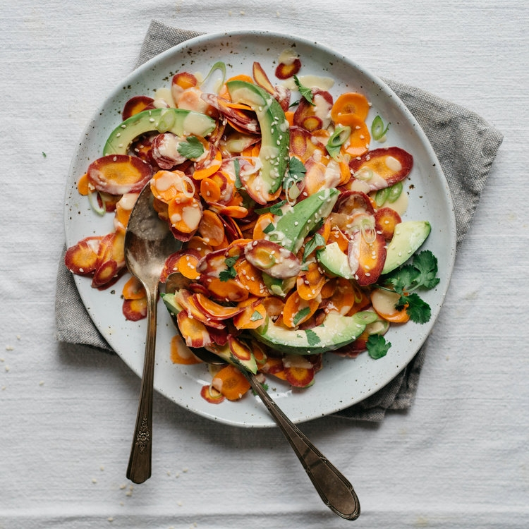 shaved carrot & avocado salad