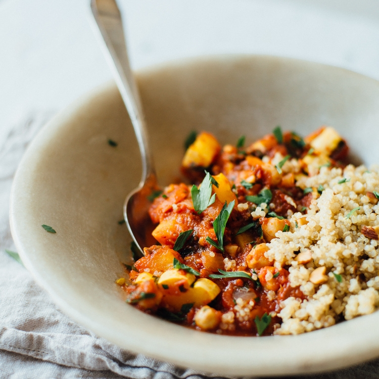 spicy chickpea stew w/ quinoa pilaf