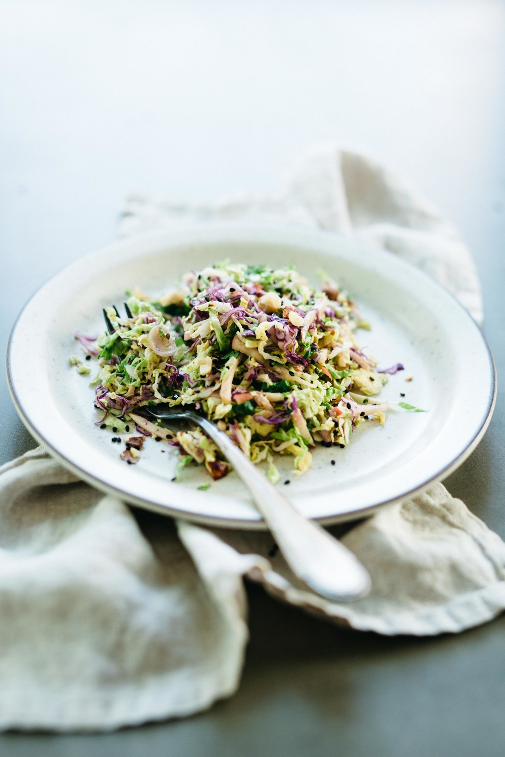 Brussels Sprouts, Honeycrisp & Cabbage Slaw w/ Spicy Almond Butter Sauce | dolly and oatmeal