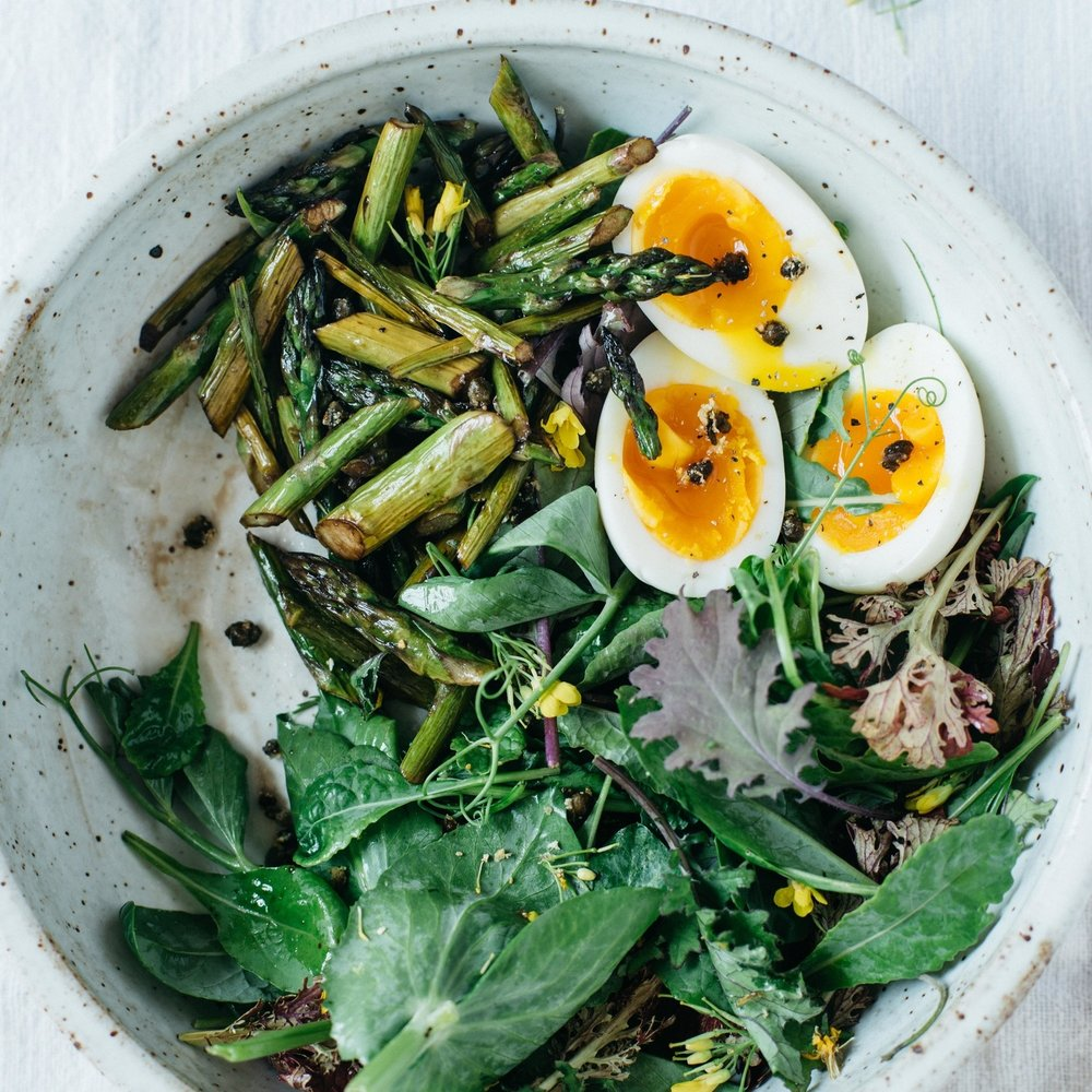 balsamic roasted asparagus salad w/ fried capers & 7-minute eggs