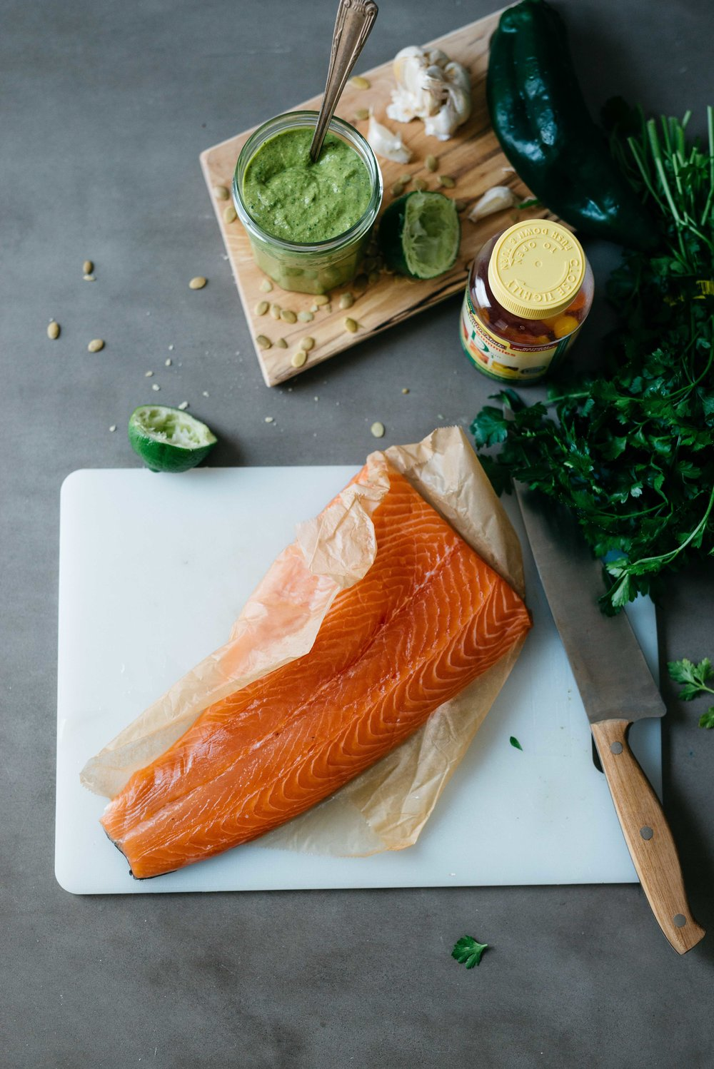 Wild Salmon W/ Pepita & Poblano Romesco | Dolly and Oatmeal