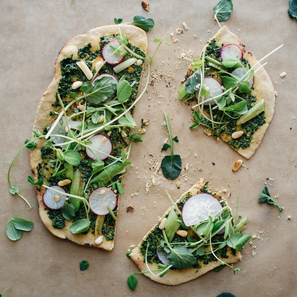 spring onion & pea tendril flatbread