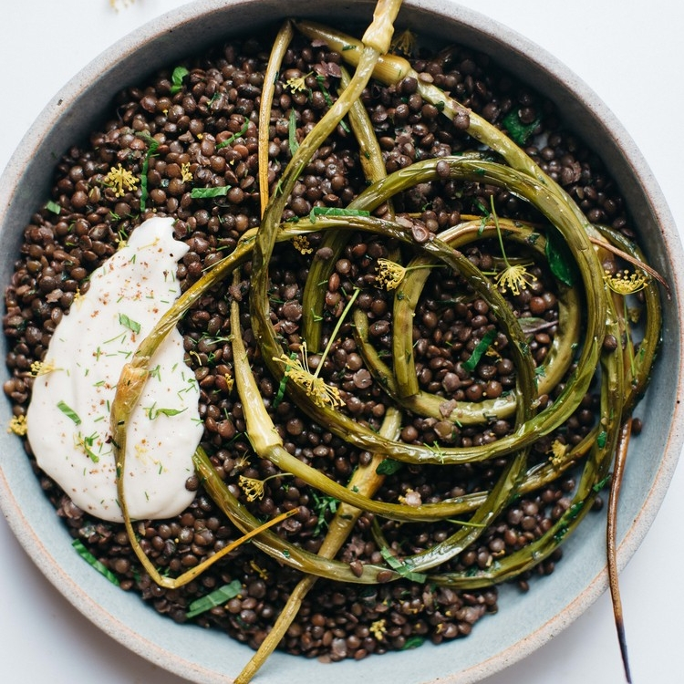 herbed black beluga lentils w/ garlic scapes & yogurt sauce