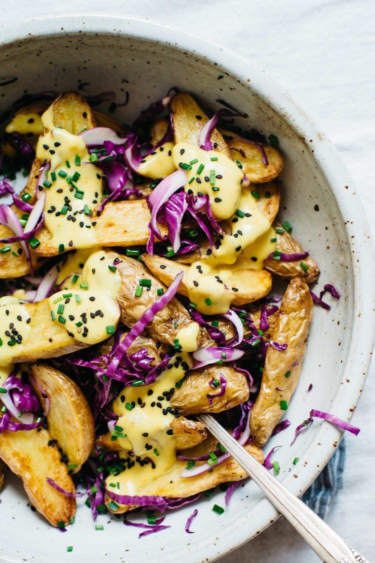 warm fingerling potatoes w/ garlic-turmeric sauce