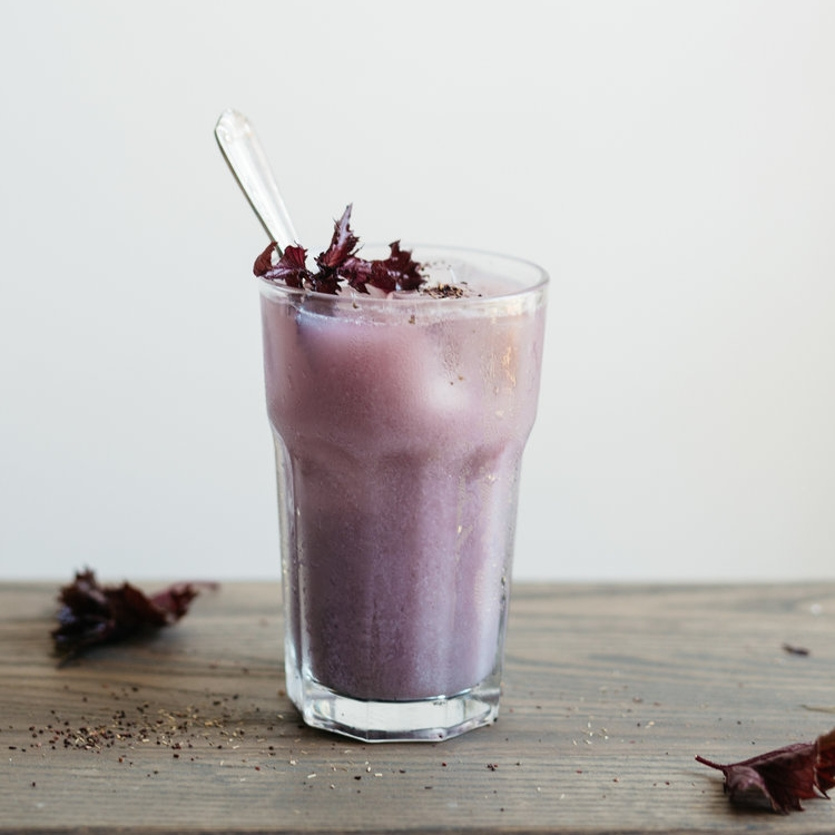 cold-brewed shiso hibiscus tea iced latte