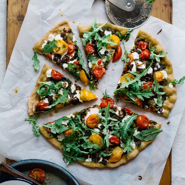 grilled summer pizza w/ garden pesto & caramelized balsamic shallots