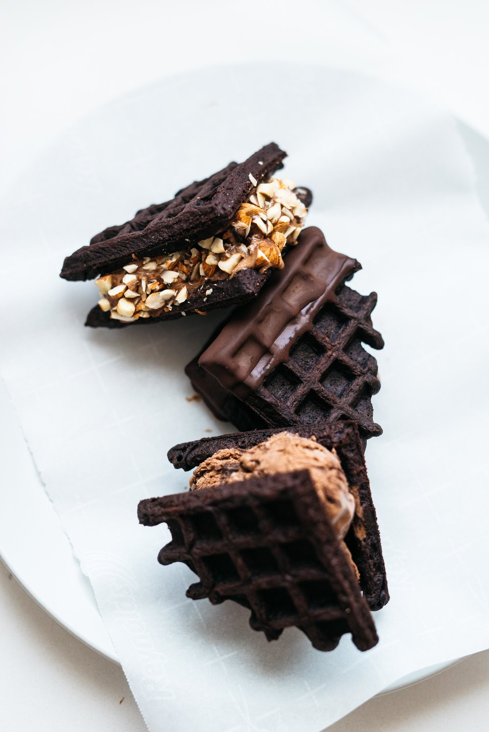 Dark Cocoa Waffle Ice Cream Sandwiches | Dolly and Oatmeal