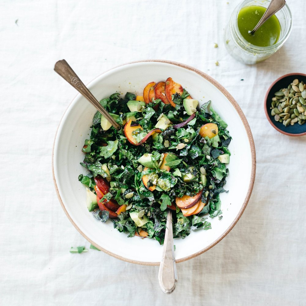 avocado, kale & arugula chop w/ roasted poblano & lime dressing