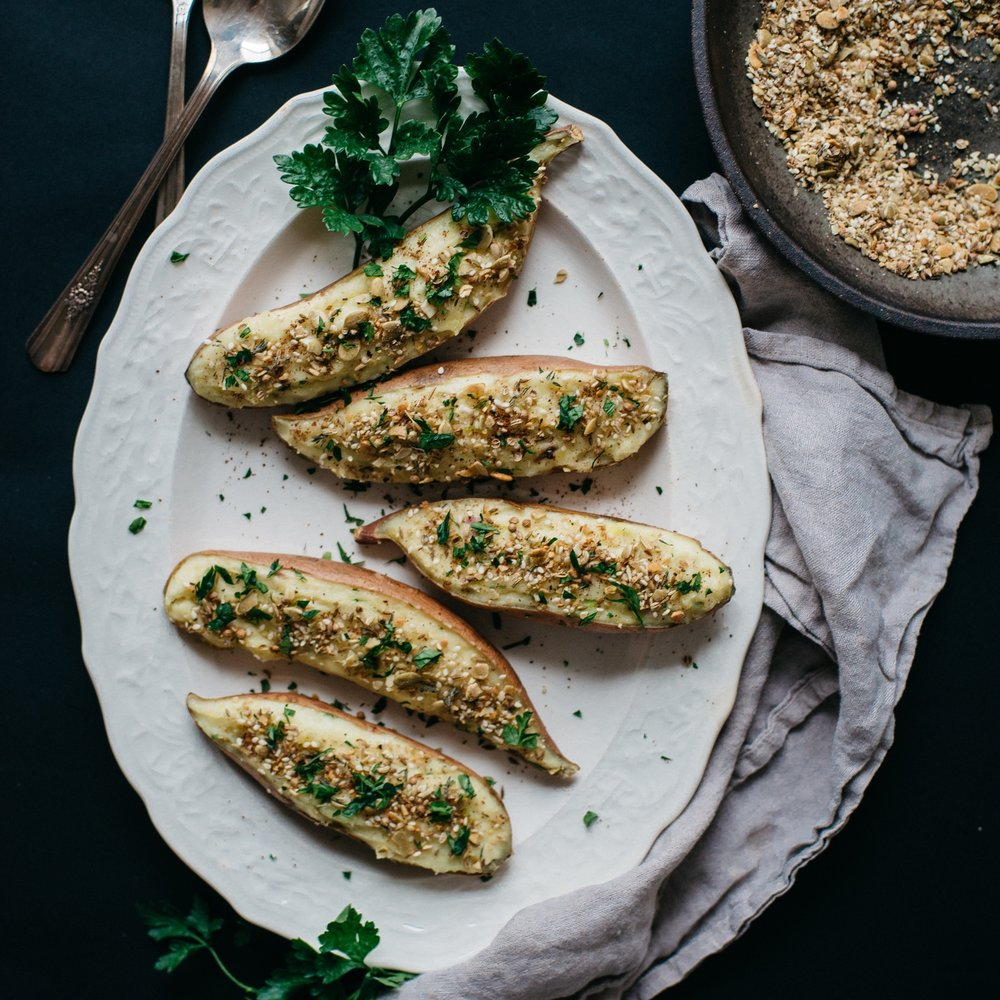 vegan twice baked potatoes w/ pumpkin seed dukkah
