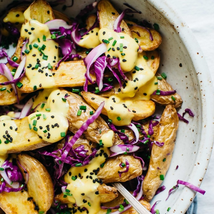 roasted fingerlings w/ garlicky-turmeric sauce