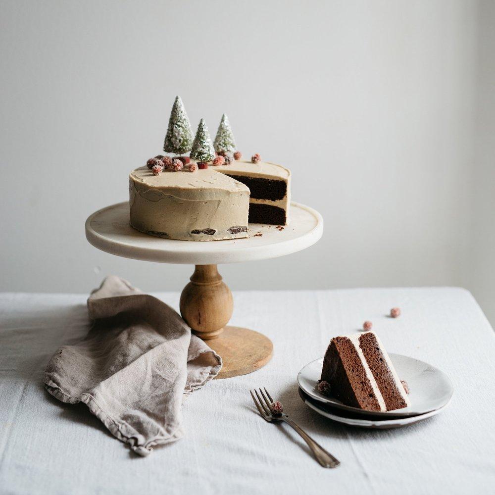 chocolate tahini cake w/ sugared cranberries