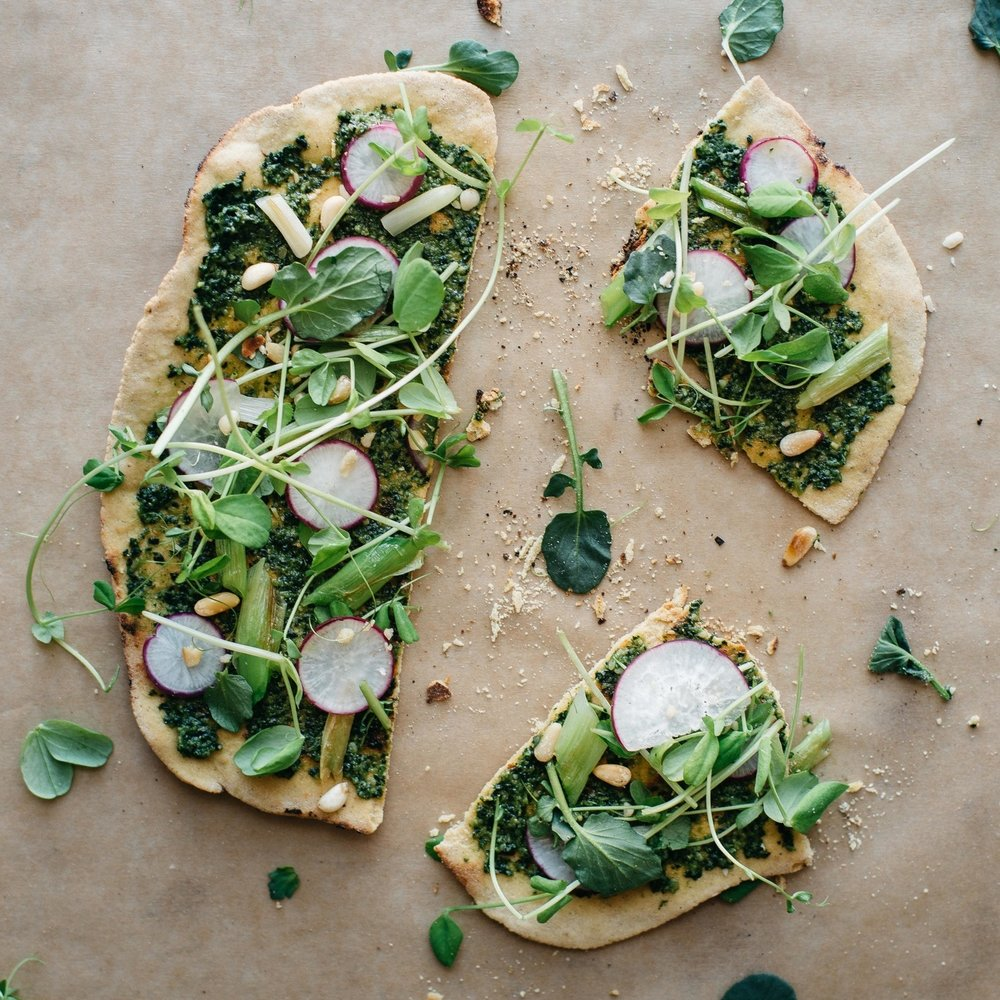 spring onion + pea tendril flatbread