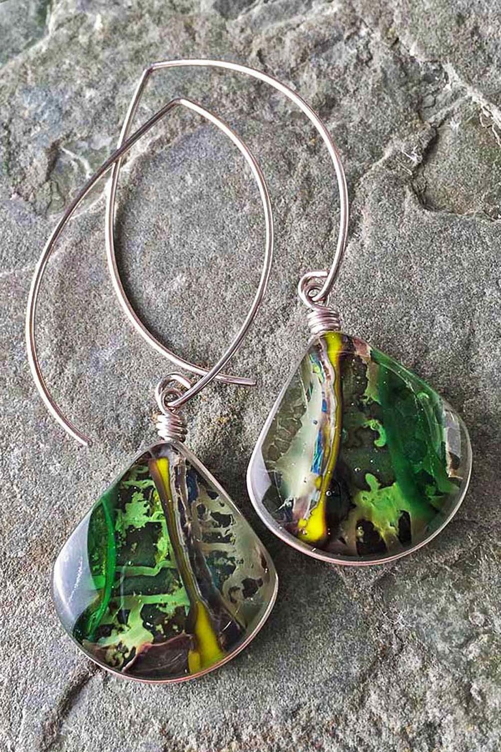 "3. Forest Floor Earrings . 75"" x 2.5"" Earrings, kiln formed art glass with Argentium sterling silver wire."