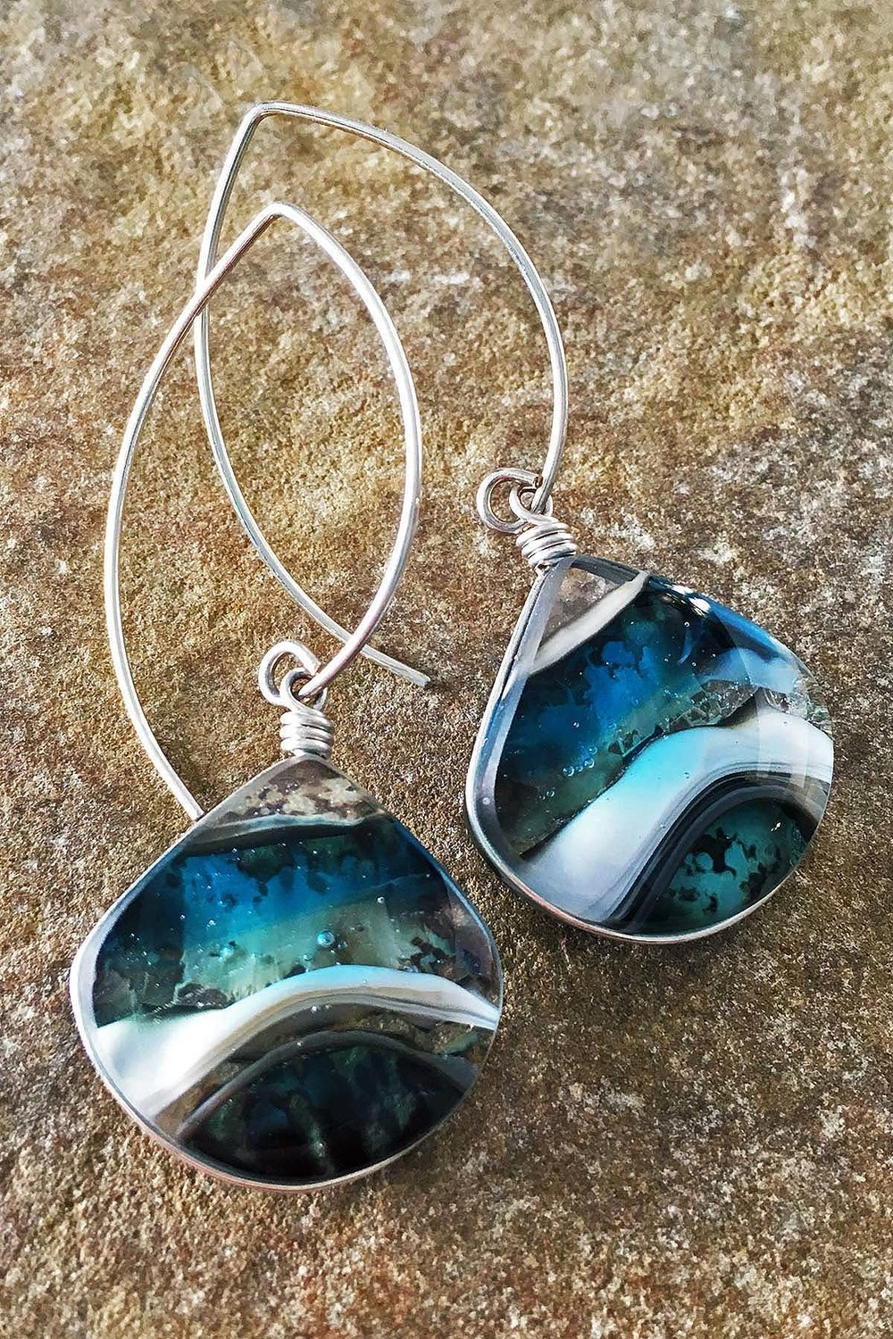 "4. Ocean Waves Earrings 1"" x 2.25"" Earrings, kiln formed art glass with Argentium sterling silver wire."