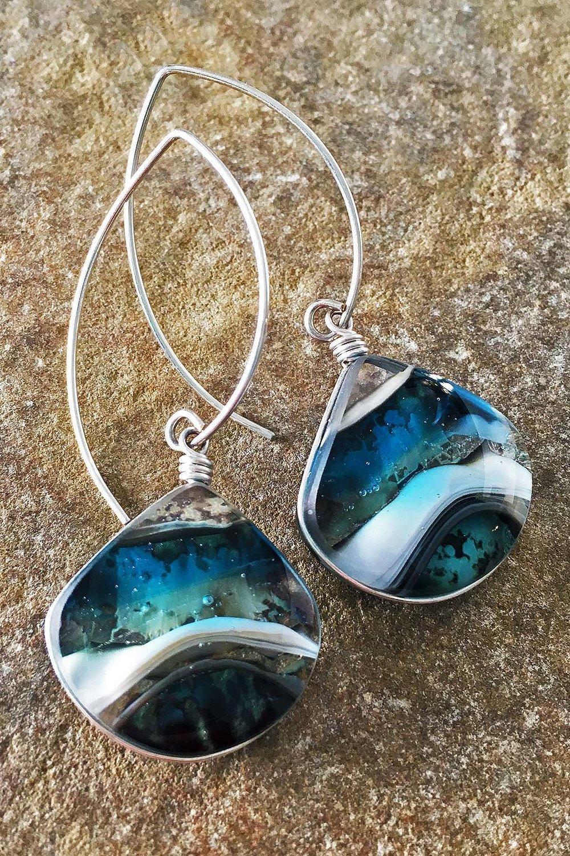 """4. Ocean Waves Earrings 1"""" x 2.25"""" Earrings, kiln formed art glass with Argentium sterling silver wire."""