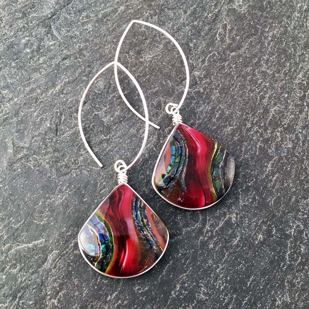 "4. Cranberry Stone Design Earrings, kiln formed art glass, 1"" x 2.5"" x .25"", Earrings, Argentium sterling silver wire setting and ear wires, $67.00."