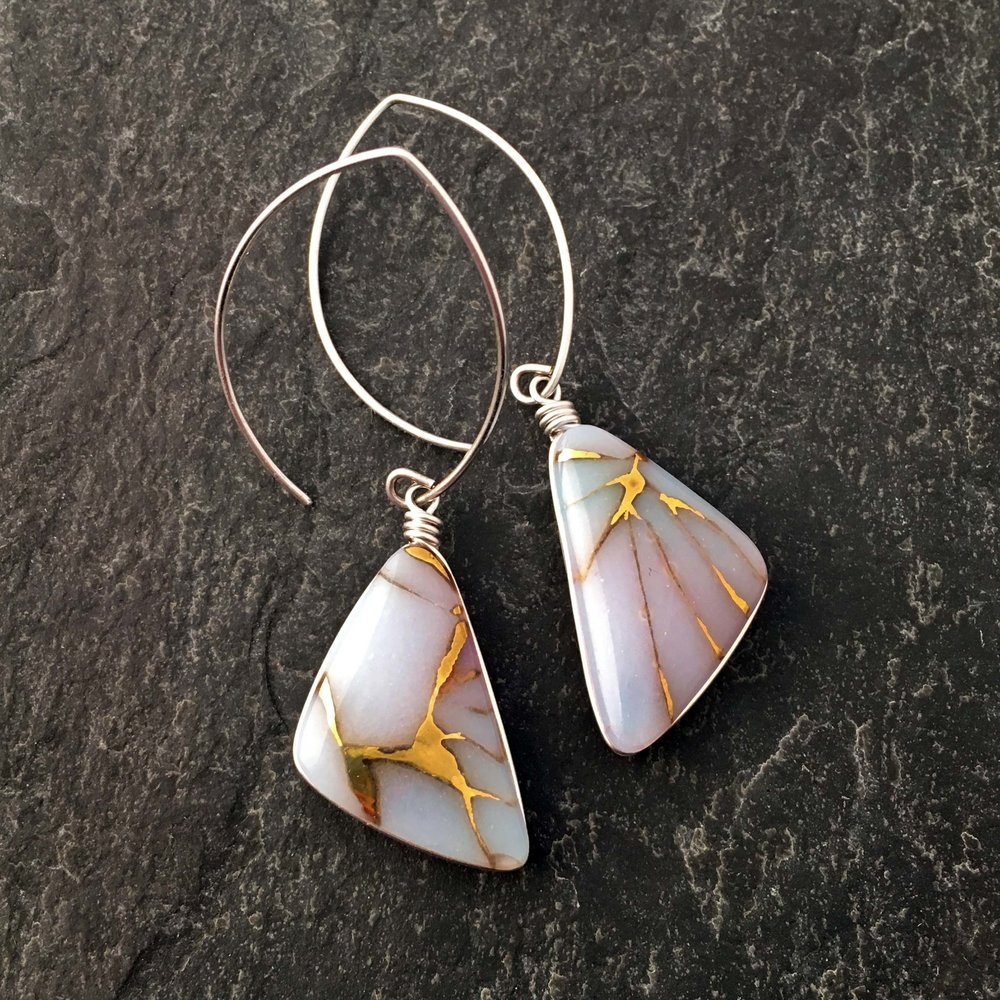 "5. Golden Veins Earrings, kiln formed art glass, .75"" x 2.25"" x .25"", Earrings, painted with gold luster, Argentium sterling silver wire setting and ear wires, $67.00."