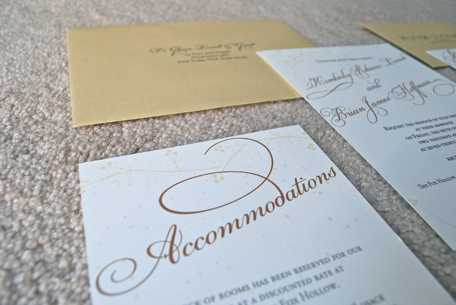 Golden Winter Wedding Accommodations