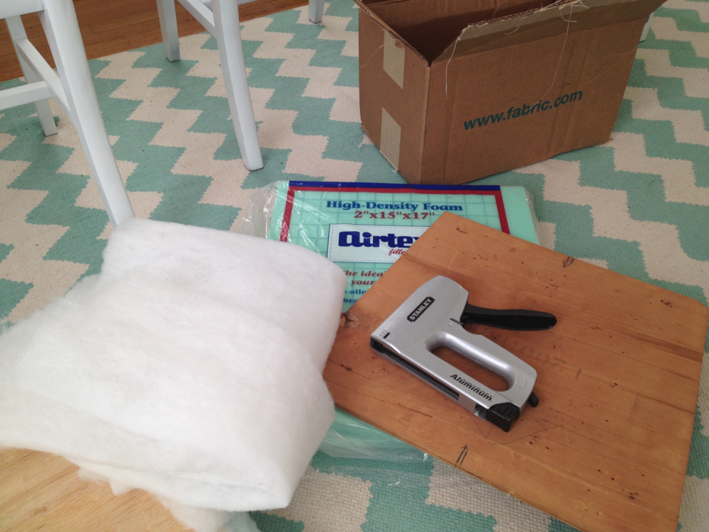 Supplies for reupholstering the cushions