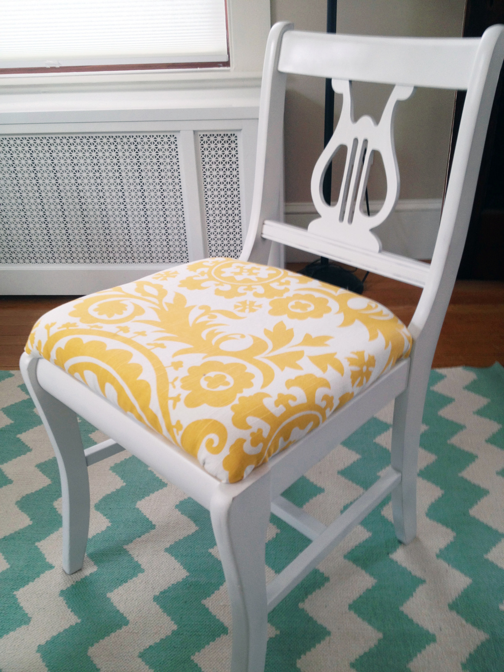 Finished chair in place