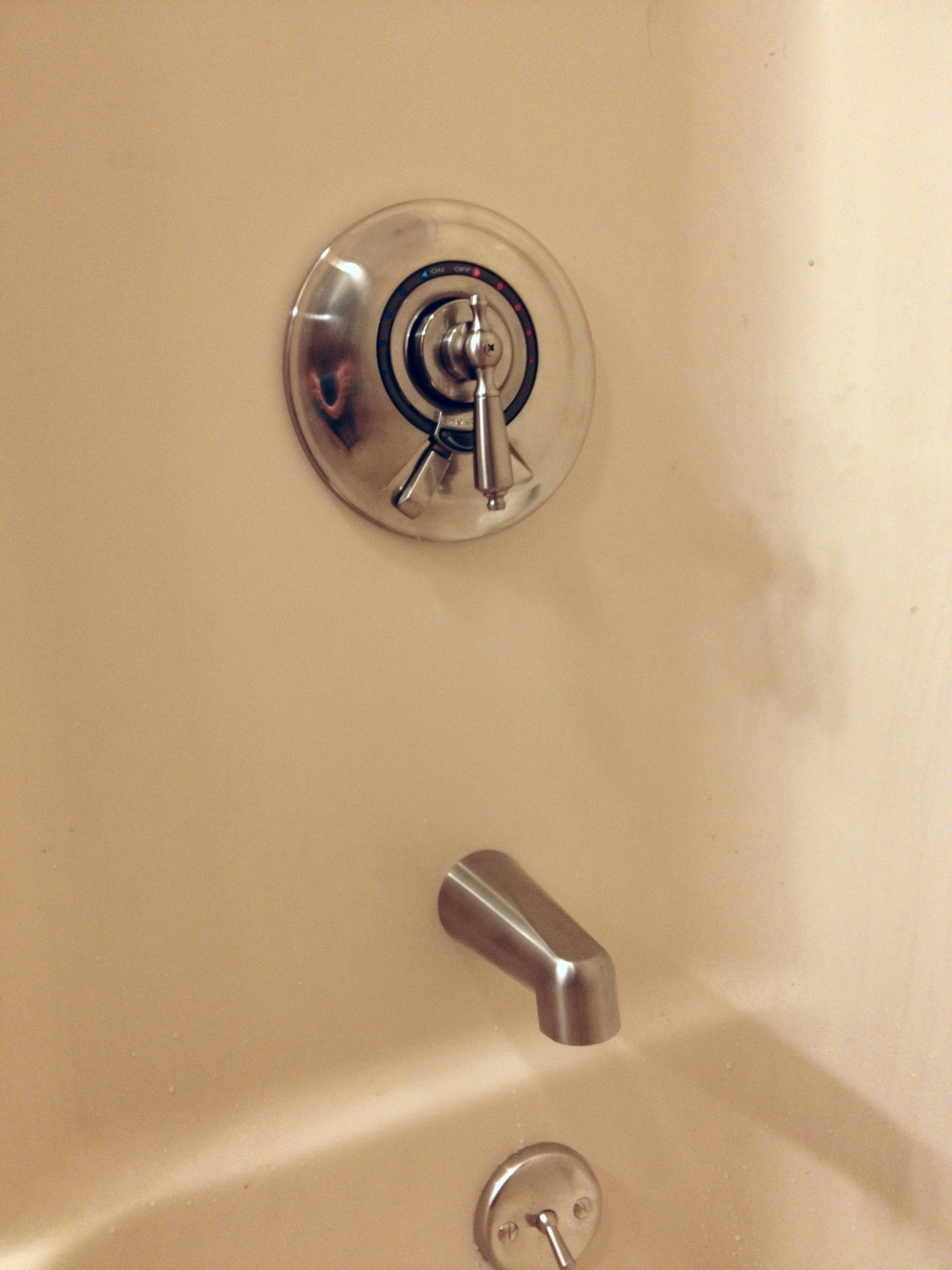 The new shower/tub hardware in all its hard-earned glory.
