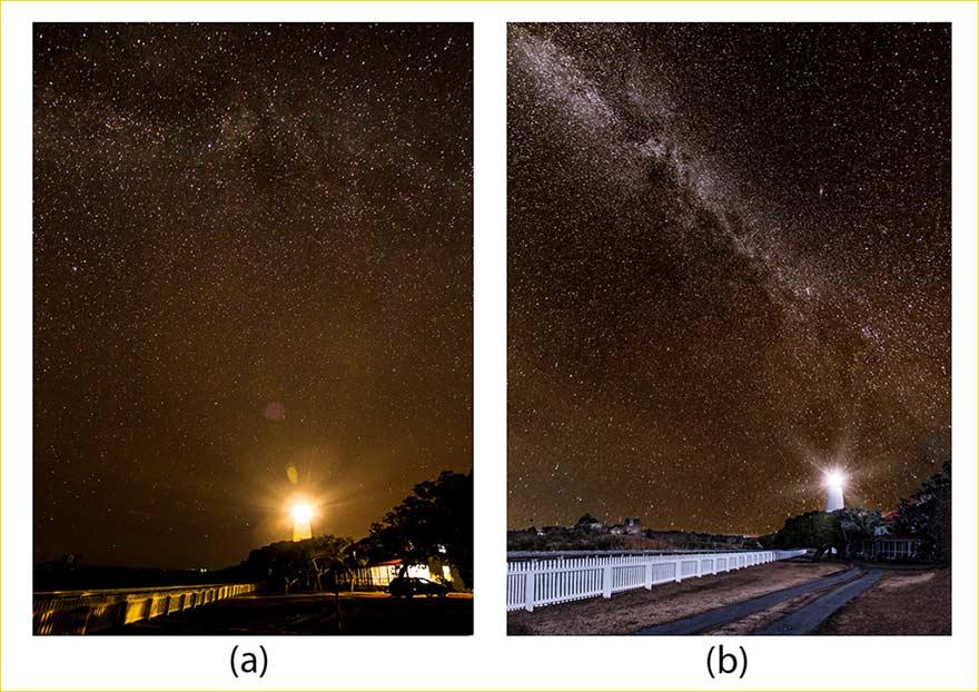 Figura 1: (a) Una fotografia notturna con post elaborazione standard per migliorare l'immagine. (B) Una immagine composita che combina due immagini con notevole post elaborazione.
