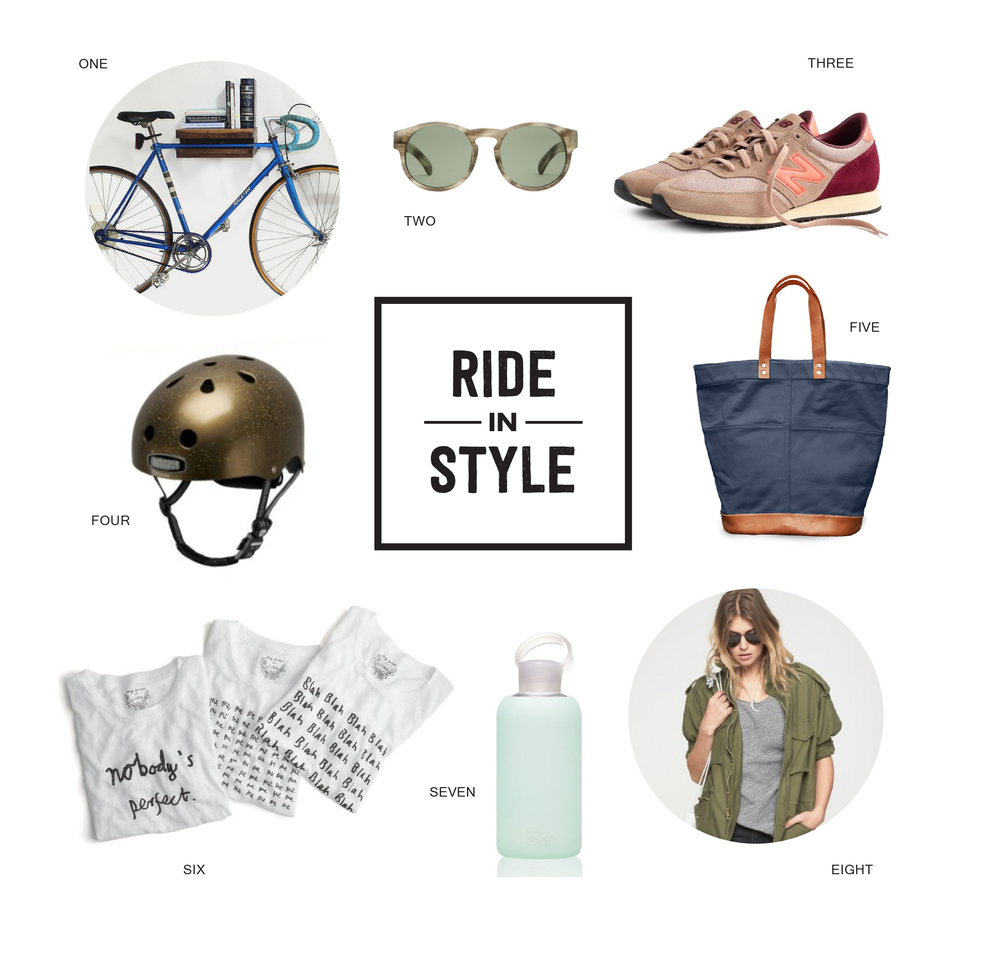 1. Bike Rack 2. Sunglasses  3. Sneakers 4. Helmet 5. Bike Bag 6. T-Shirts 7. Water Bottle 8. Jacket