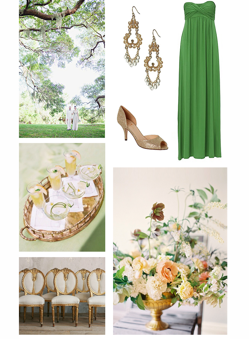 Wedding Couple, Cucumber Pear Cocktails, Gold Wedding Chairs, Chandelier Earrings, Gold Heels, Green Dress, Flower Arrangement