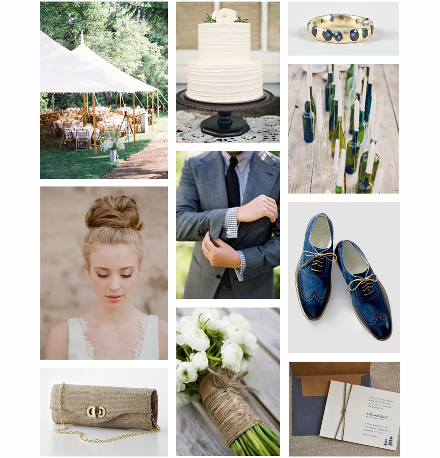 Tent, Bride, Clutch, Wedding Cake, Groom's Attire, Bouquet, Sapphire Ring, Bottle Candle Holders, Navy Shoes, Wedding Invitation