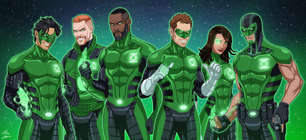 Left to right: Kyle Rayner, Guy Gardner, John Stewart, Hal Jordan, Jessica Cruz, and Simon Baz.