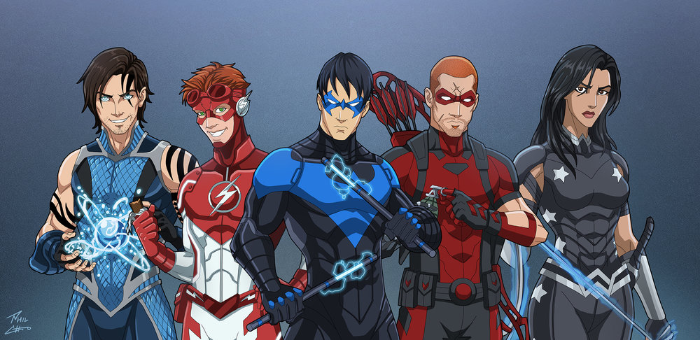 Left to right: Tempest, Impulse, Nightwing, Arsenal, and Darkstar
