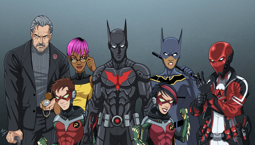 Left to right: Bruce Wayne, Matt McGinnis (Robin Beta), Max Gibson, Terry McGinnis (Batman), Helena Wayne (Robin Alpha), Nissa (Batgirl), Lian Harper