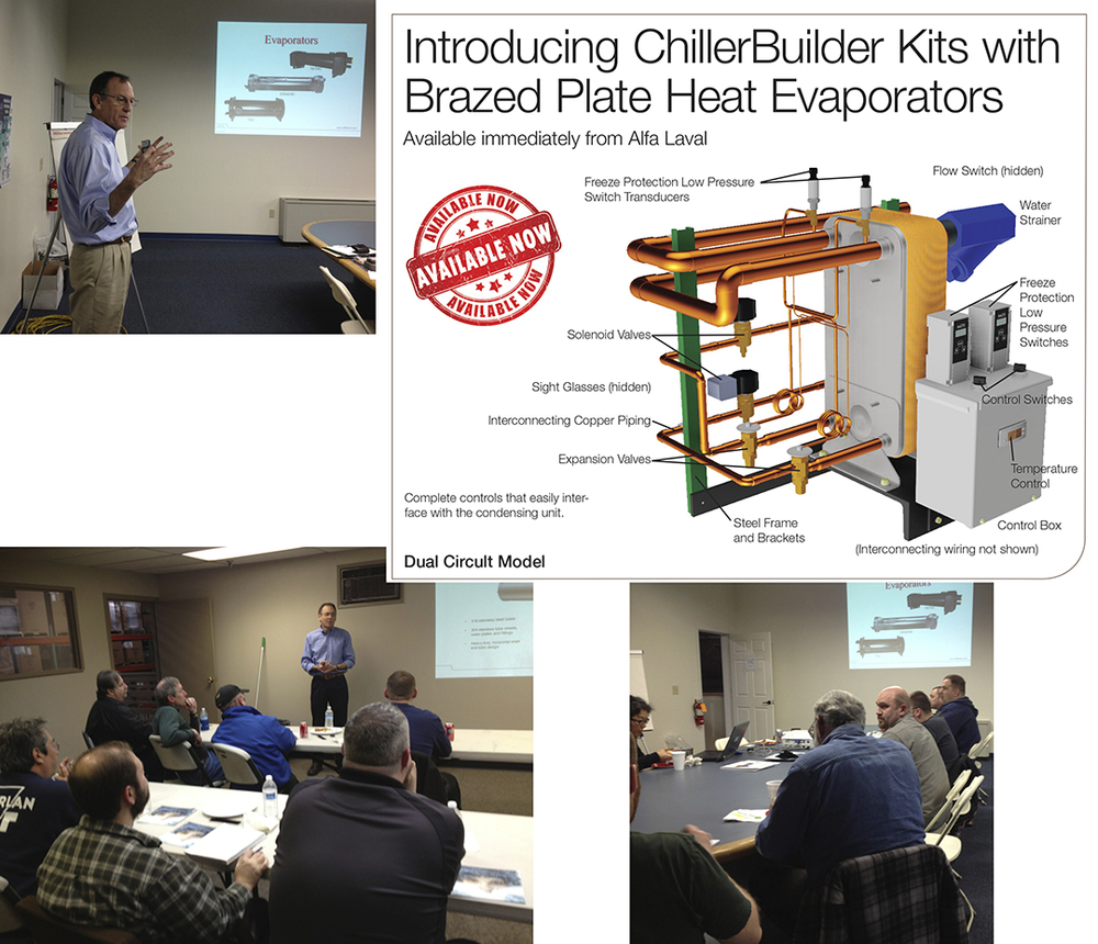 We recently conducted several Standard Refrigeration training classes in the Northwest. At the classes we introducted their ChillerBuilder Kits with Brazed Plate Heat Evaporators. The kits which are available now were a huge hit. The attendees were impressed with the ease of the kits and the small size.   For more information on Brazed Plate Heat Evaporators CLICK HERE
