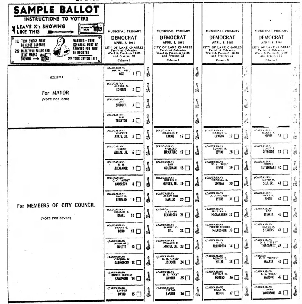 third image of Sample Ballot With Racial Designations From Louisiana with Sample ballot with racial designations from Louisiana ...