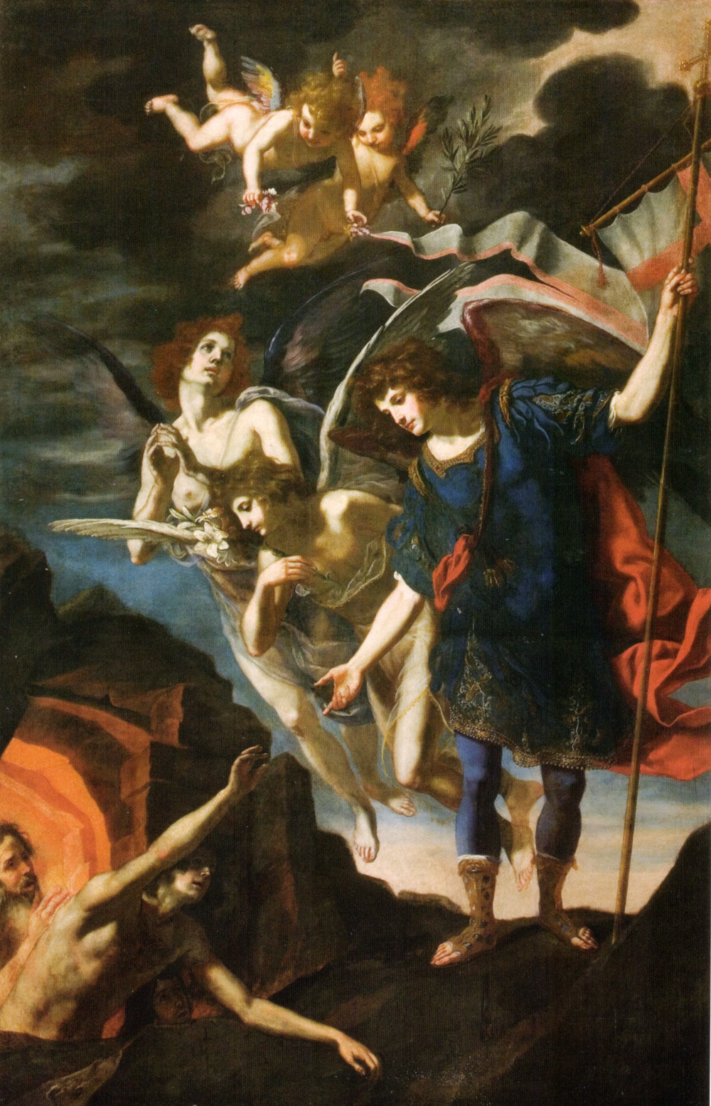 Archangel Michael   reaching to save souls in purgatory   , by   Jacopo Vignali  , 17th century