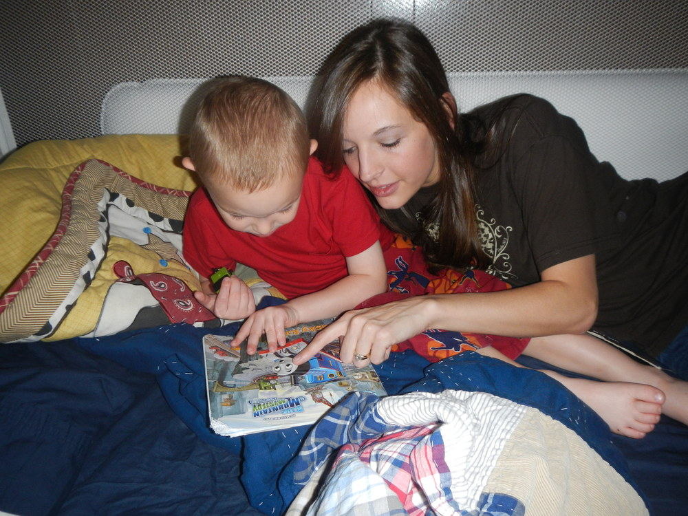 Story time with my Ezra! Of course, it's Thomas the Train!