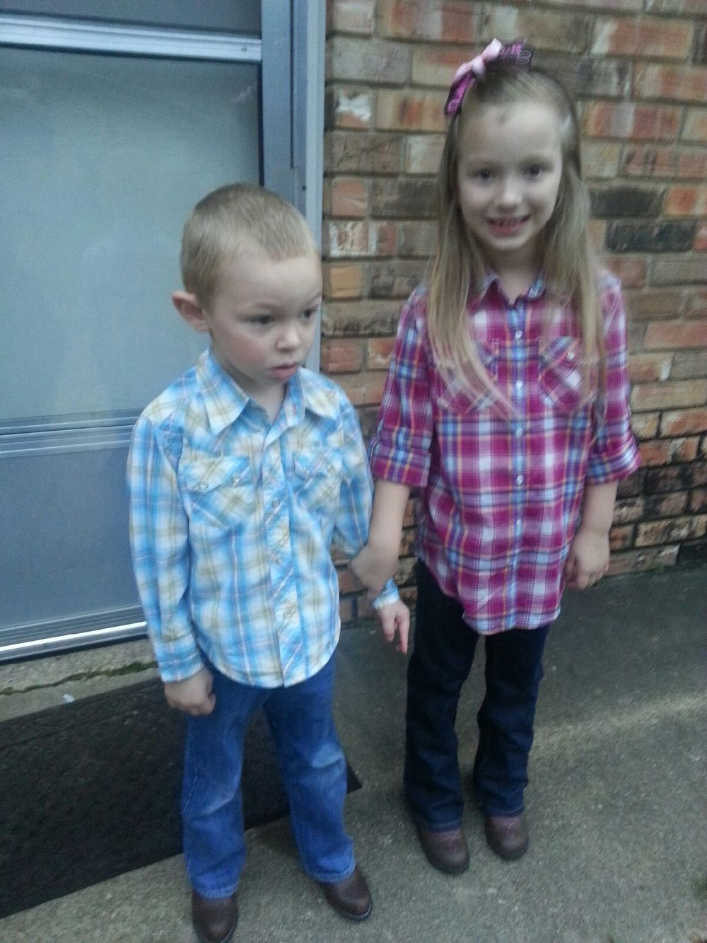 All dressed up for Western Days at school last week! This was Ezra's first time to wear boots...he wasn't too sure about them!