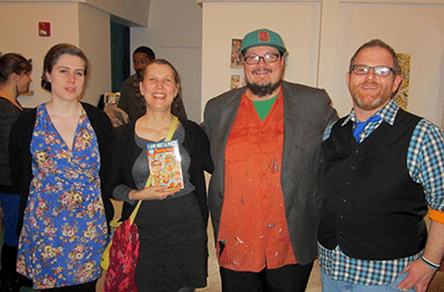 From left: Mary Locke (Marketing Coordinator/Designer), me (Book Designer/Design Coordinator), Israel Bayer (Executive Director of Street Roots), Vinnie Kinsella (Project Manager/E-book Designer). There were many others from the publishing world (PSU Publishing Program grads and Street Roots employees/supporters) who helped this project come to fruition that are not seen here. It took blood, sweat, and tears plus many donated hours to see this project through to completion. Good job everyone.