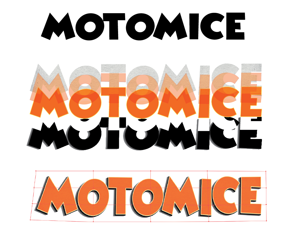 Top: Original unaltered font. Middle: Illustrator layers used to build a more 3D textured version. Bottom: Mesh tool used in Illustrator to manipulate the shape of the word art.
