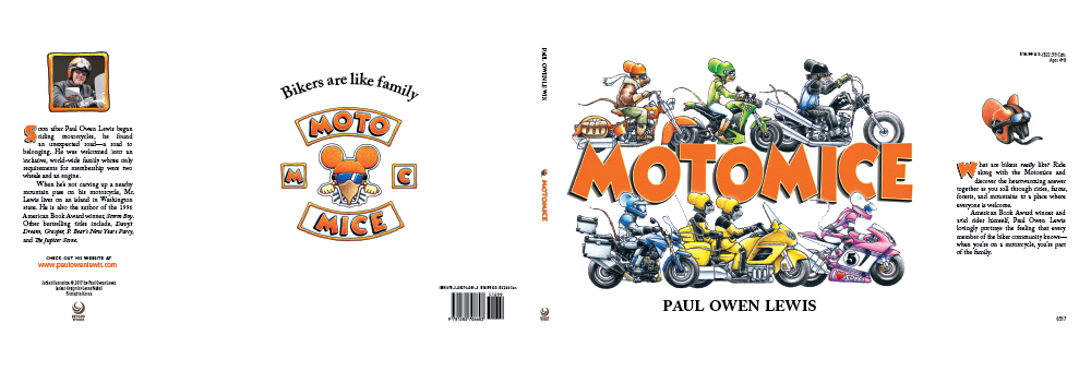 Full cover layout. Color adjustments were made to all illustration elements. An outside glow was placed on the bottom row of mice so they move to the front of the letters, and a drop shadow was created just behind each overlapping letter tip to move the title in front of the top mice row. The same title letter art was used for the drop caps on the dust jacket flaps.