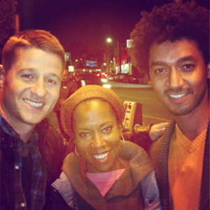 SCP on the set of  SOUTHLAND  with Ben Mackenzie & Director Regina King