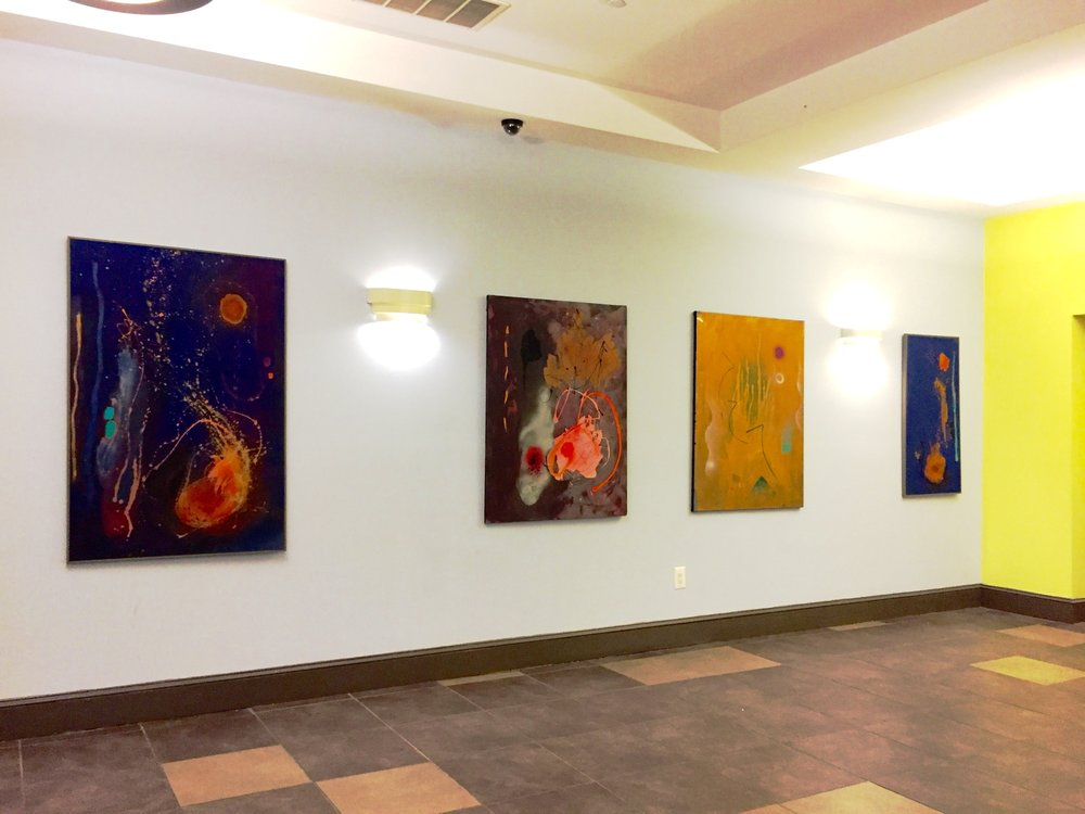From left to right:  'In The Beginning',  1984,  'Revolution/Evolution',  1984,  'Another World',  1986,  'Origin of Life' , 1984