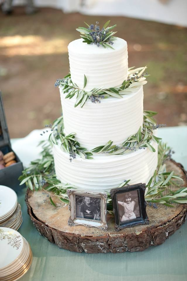 "Poise Photography...""Simple buttercream with olive branch and lavender for a French farmer's market themed wedding"""